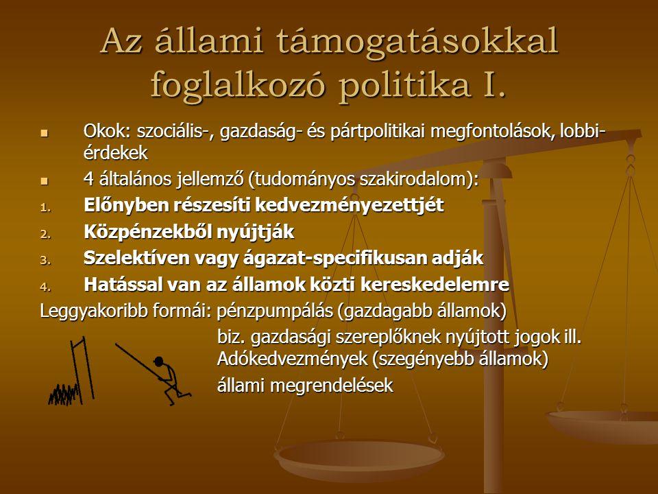 Az állami támogatásokkal foglalkozó politika I. Okok: szociális-, gazdaság- és pártpolitikai megfontolások, lobbi- érdekek Okok: szociális-, gazdaság-