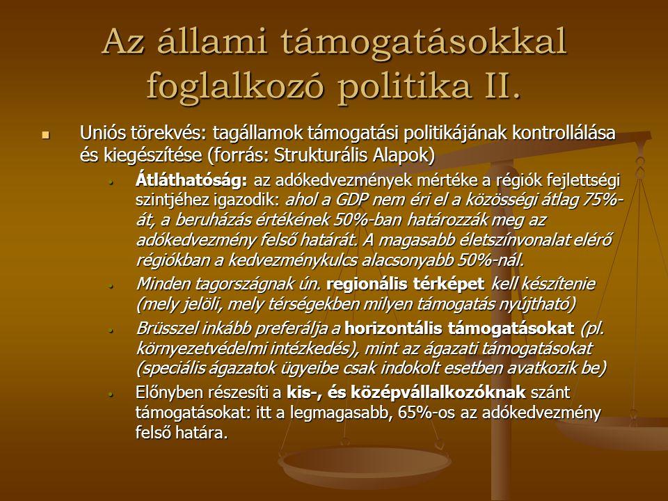 """Versenypolitika Magyarországon A rendszerváltás utáni helyzet A rendszerváltás utáni helyzet (Az állam kezdeti versenyszabályzó és beavatkozó magatartása fokozatosan megváltozik, a nemzetközi megállapodások következtében szűk körű döntési kompetenciákra korlátozódik a kormány beavatkozási magatartása) Magyar """"versenypolitikai törvényrendeletek Magyar """"versenypolitikai törvényrendeletek 1923 1923 1931 1931 1984 1984 1990 1990 1996 1996"""