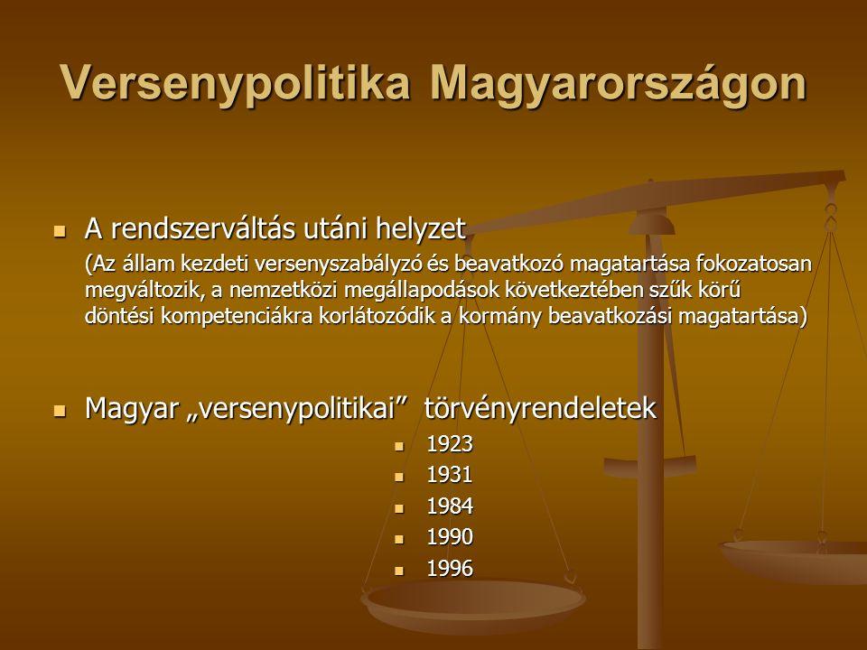 Versenypolitika Magyarországon A rendszerváltás utáni helyzet A rendszerváltás utáni helyzet (Az állam kezdeti versenyszabályzó és beavatkozó magatart
