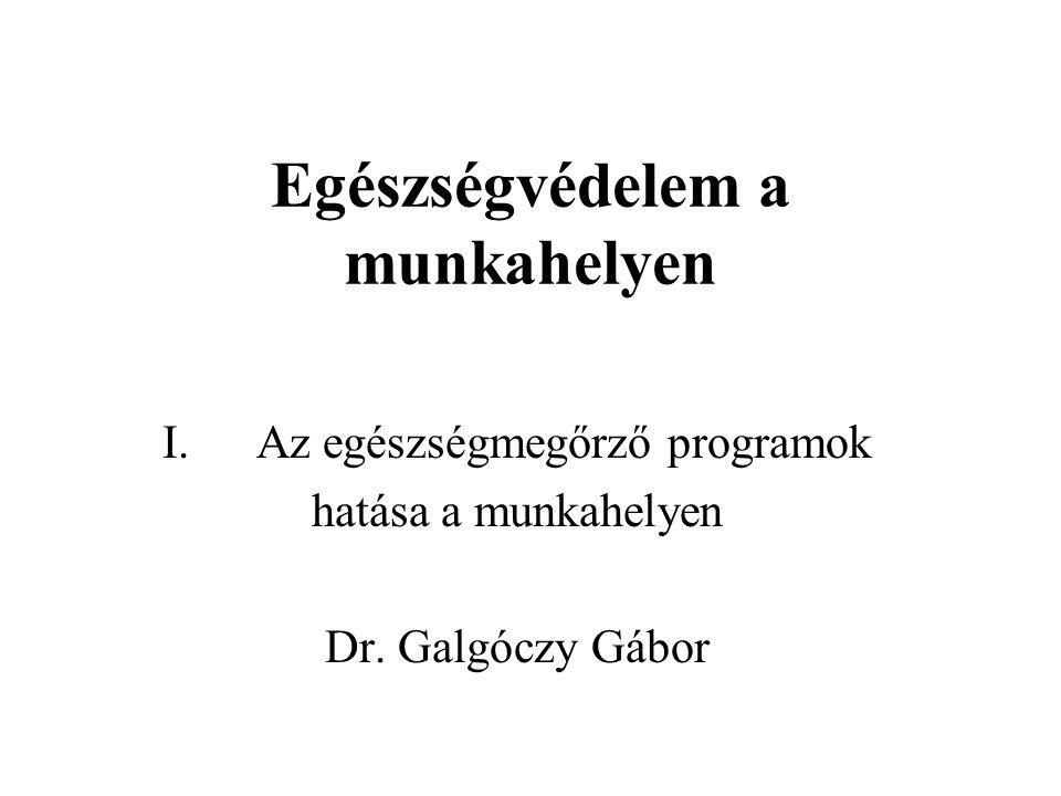 """A munkahelyi egészségfejlesztés elméleti vonulatai viselkedés-orientáltkörnyezet-orientált Filozófia az egyén meggyőzése az egészséges életmód előnyeiről olyan munkakörnyezet kialakítása, amely támogatja az egészséges életmódot PéldákDohányzás: szórólap, leszoktató program Táplálkozás: tanfolyamok """"Légy óvatos! mozgalom Dohányzás: árusítási tilalom, füstölési tilalom Táplálkozás: korszerű étlap az étkezdében virágos környezet Együttes alkalmazás, nagyobb siker!"""