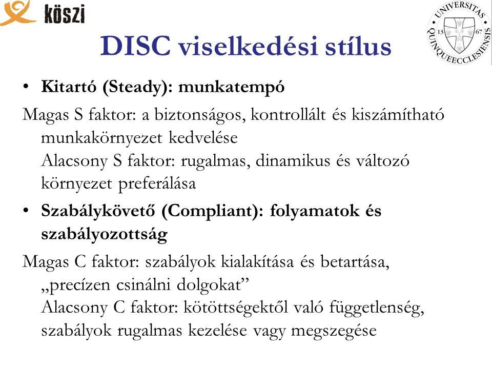 DISC viselkedési stílus Kitartó (Steady): munkatempó Magas S faktor: a biztonságos, kontrollált és kiszámítható munkakörnyezet kedvelése Alacsony S fa