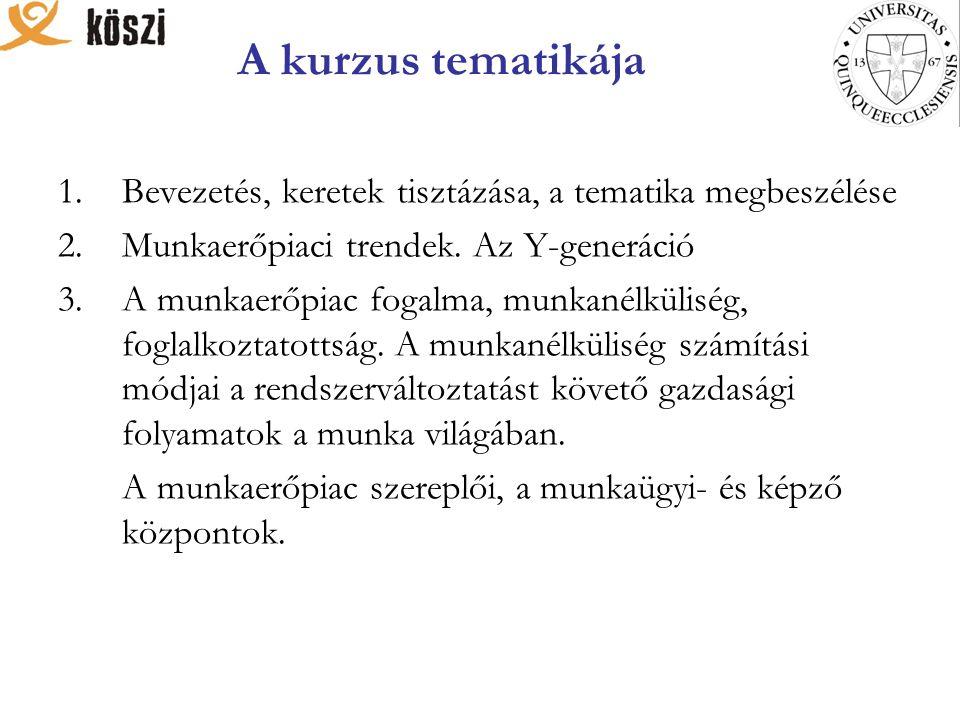 A kurzus tematikája 1.Bevezetés, keretek tisztázása, a tematika megbeszélése 2.Munkaerőpiaci trendek. Az Y-generáció 3.A munkaerőpiac fogalma, munkané