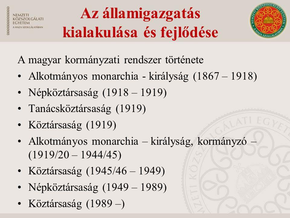 Az államigazgatás kialakulása és fejlődése A magyar kormányzati rendszer története Alkotmányos monarchia - királyság (1867 – 1918) Népköztársaság (1918 – 1919) Tanácsköztársaság (1919) Köztársaság (1919) Alkotmányos monarchia – királyság, kormányzó – (1919/20 – 1944/45) Köztársaság (1945/46 – 1949) Népköztársaság (1949 – 1989) Köztársaság (1989 –)