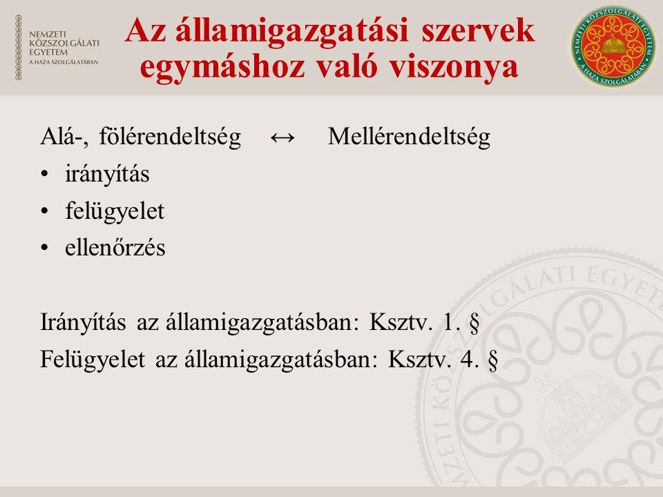 Alá-, fölérendeltség ↔ Mellérendeltség irányítás felügyelet ellenőrzés Irányítás az államigazgatásban: Ksztv.