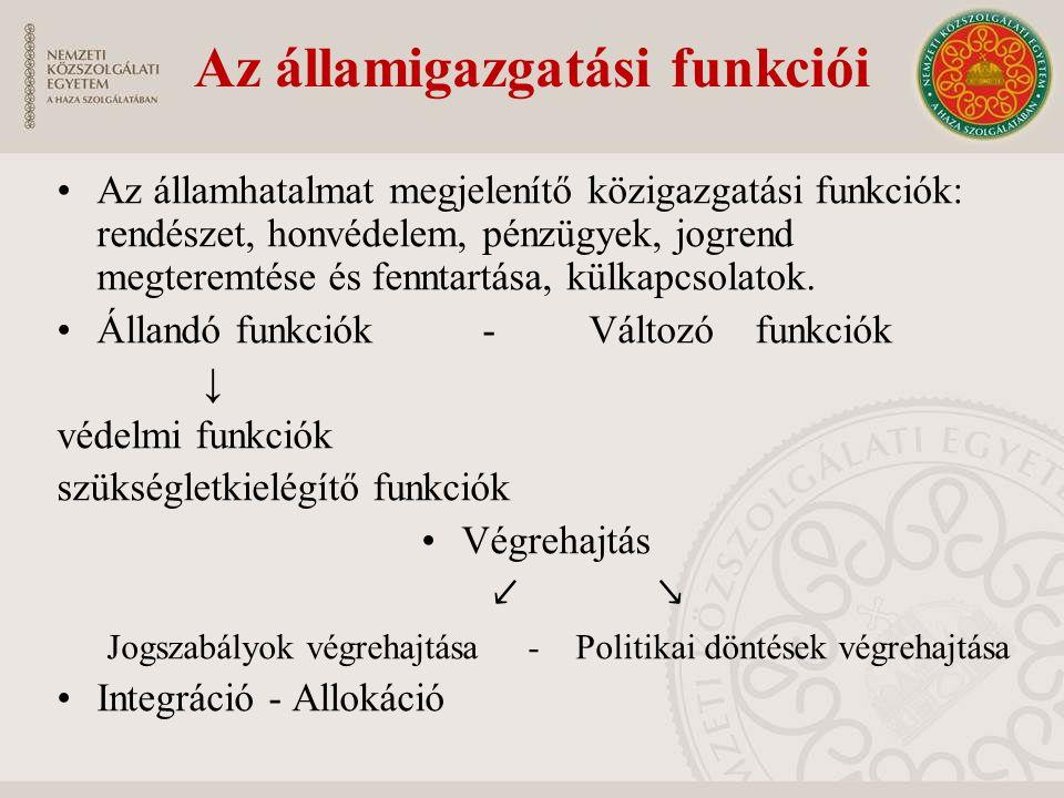 Az államigazgatási funkciói Az államhatalmat megjelenítő közigazgatási funkciók: rendészet, honvédelem, pénzügyek, jogrend megteremtése és fenntartása, külkapcsolatok.