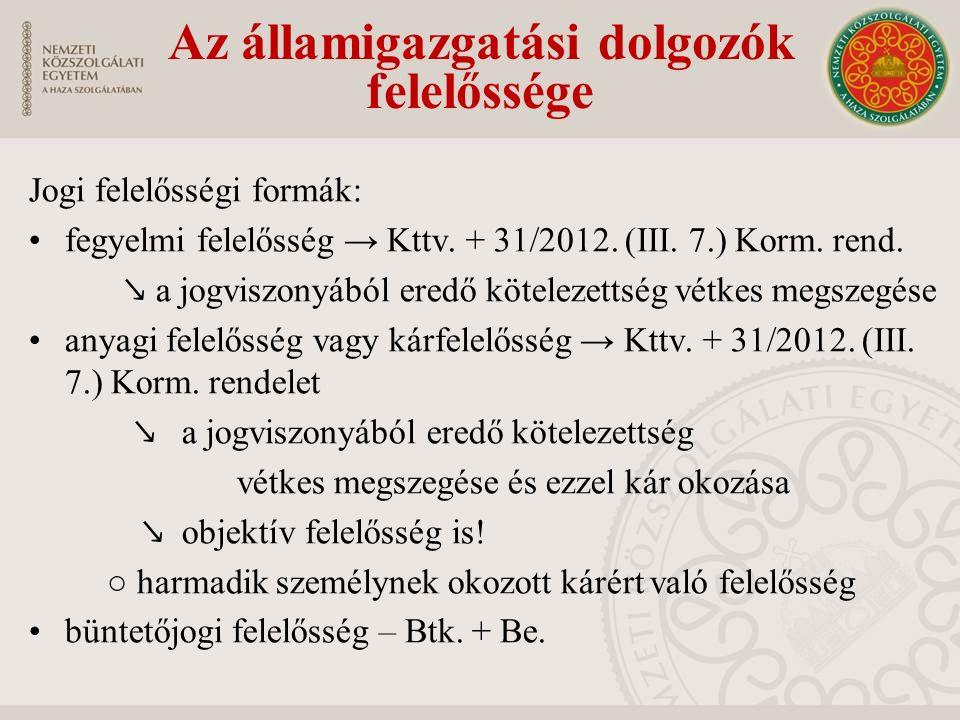 Jogi felelősségi formák: fegyelmi felelősség → Kttv.