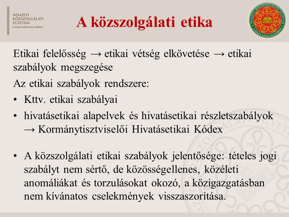 A közszolgálati etika Etikai felelősség → etikai vétség elkövetése → etikai szabályok megszegése Az etikai szabályok rendszere: Kttv.