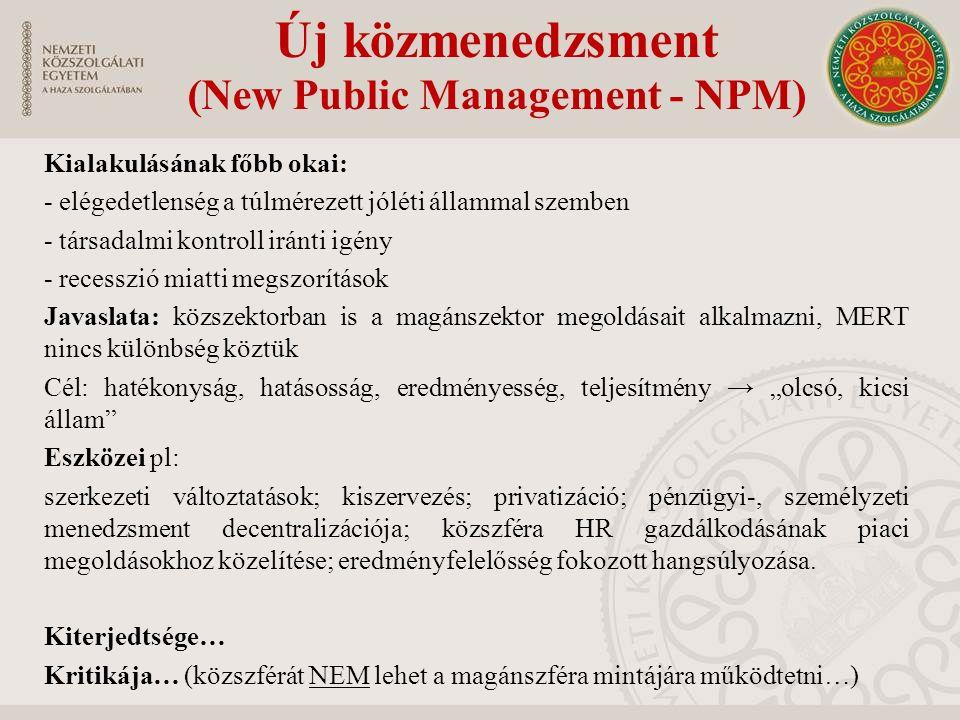 """Új közmenedzsment (New Public Management - NPM) Kialakulásának főbb okai: - elégedetlenség a túlmérezett jóléti állammal szemben - társadalmi kontroll iránti igény - recesszió miatti megszorítások Javaslata: közszektorban is a magánszektor megoldásait alkalmazni, MERT nincs különbség köztük Cél: hatékonyság, hatásosság, eredményesség, teljesítmény → """"olcsó, kicsi állam Eszközei pl: szerkezeti változtatások; kiszervezés; privatizáció; pénzügyi-, személyzeti menedzsment decentralizációja; közszféra HR gazdálkodásának piaci megoldásokhoz közelítése; eredményfelelősség fokozott hangsúlyozása."""