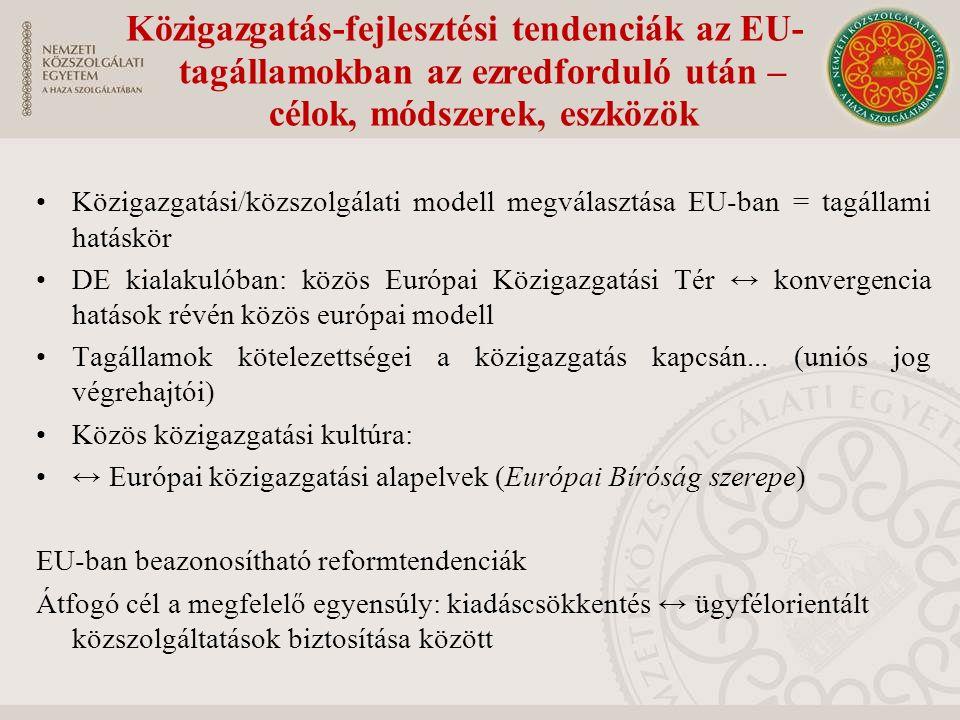 Közigazgatási/közszolgálati modell megválasztása EU-ban = tagállami hatáskör DE kialakulóban: közös Európai Közigazgatási Tér ↔ konvergencia hatások révén közös európai modell Tagállamok kötelezettségei a közigazgatás kapcsán...