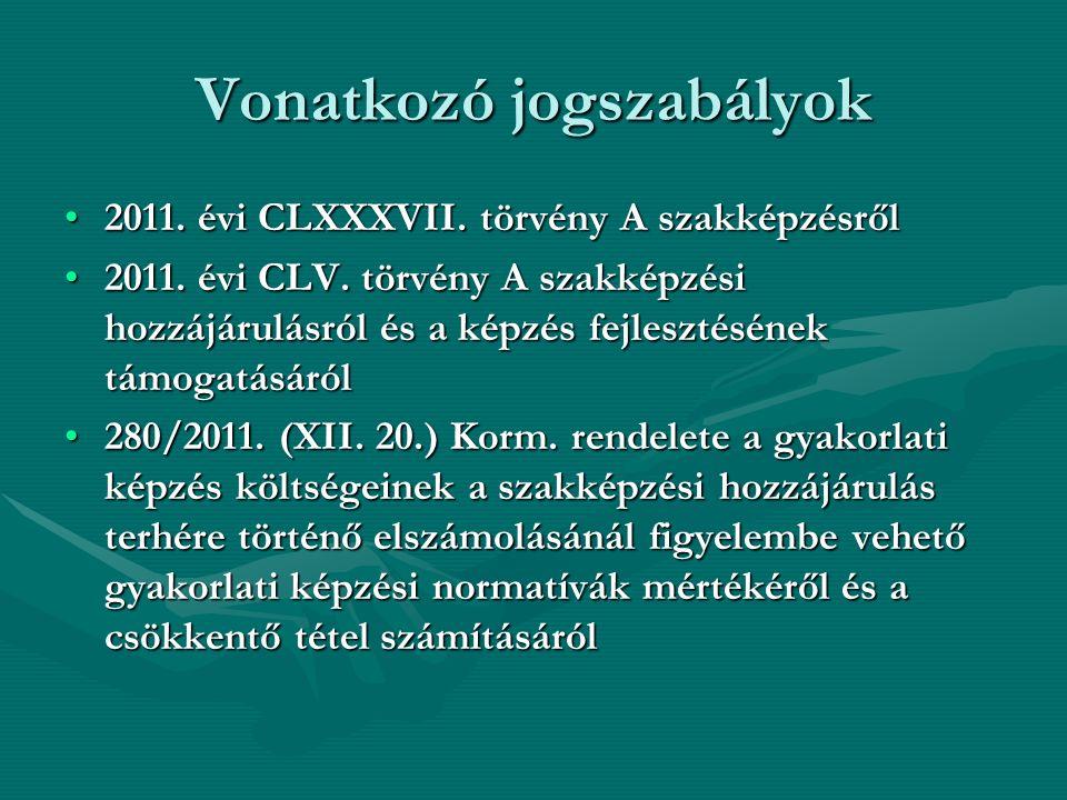 Vonatkozó jogszabályok 2011. évi CLXXXVII. törvény A szakképzésről2011.
