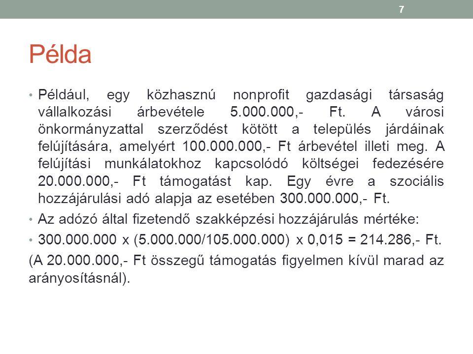 Példa Például, egy közhasznú nonprofit gazdasági társaság vállalkozási árbevétele 5.000.000,- Ft.