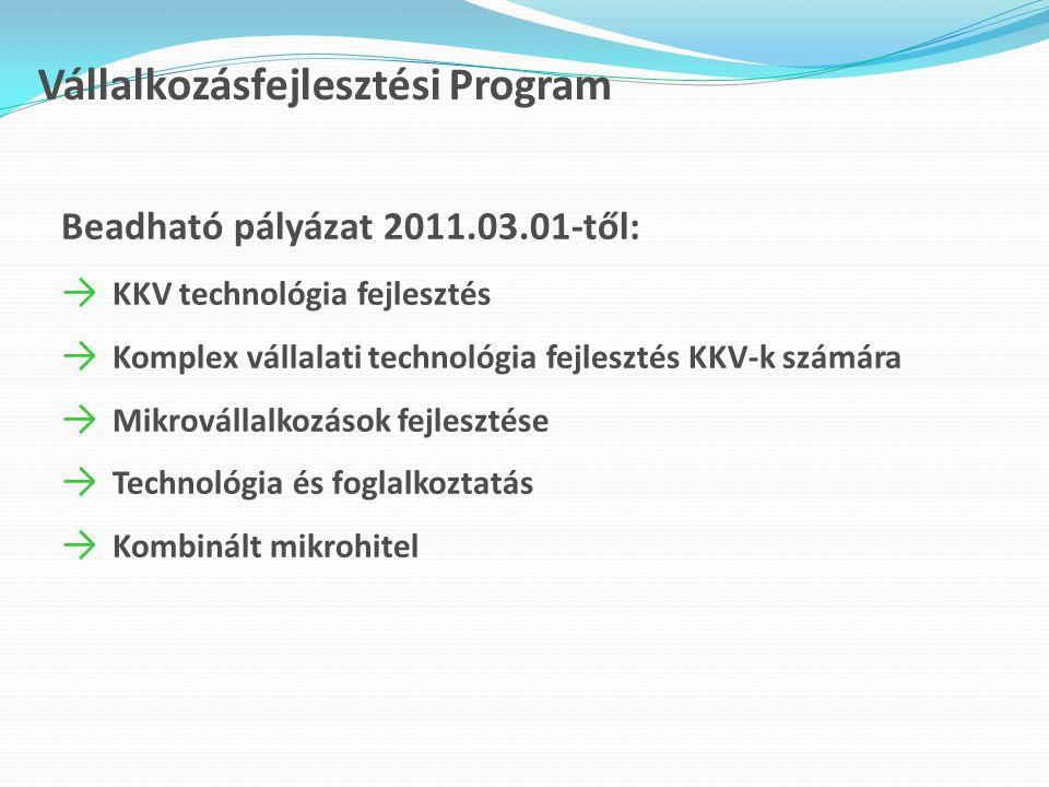 Vállalkozásfejlesztési Program Beadható pályázat 2011.03.01-től: → KKV technológia fejlesztés → Komplex vállalati technológia fejlesztés KKV-k számára → Mikrovállalkozások fejlesztése → Technológia és foglalkoztatás → Kombinált mikrohitel