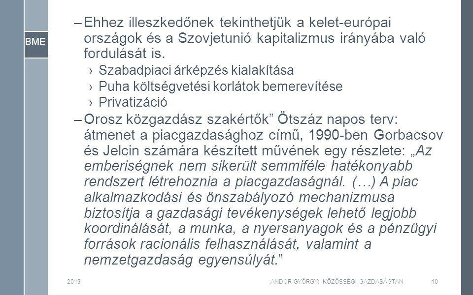 BME 2013ANDOR GYÖRGY: KÖZÖSSÉGI GAZDASÁGTAN10 –Ehhez illeszkedőnek tekinthetjük a kelet-európai országok és a Szovjetunió kapitalizmus irányába való f