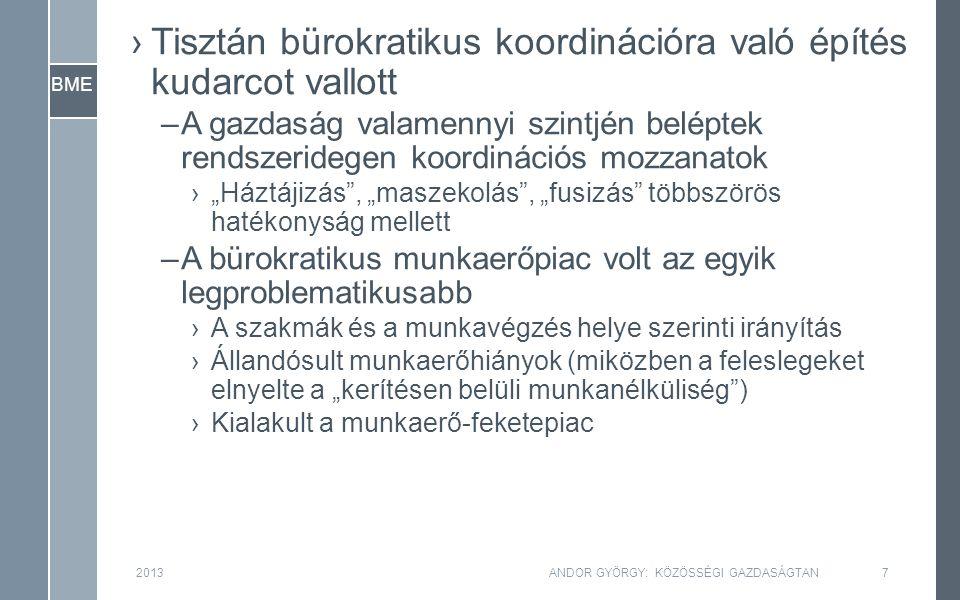 BME ›Tisztán bürokratikus koordinációra való építés kudarcot vallott –A gazdaság valamennyi szintjén beléptek rendszeridegen koordinációs mozzanatok ›