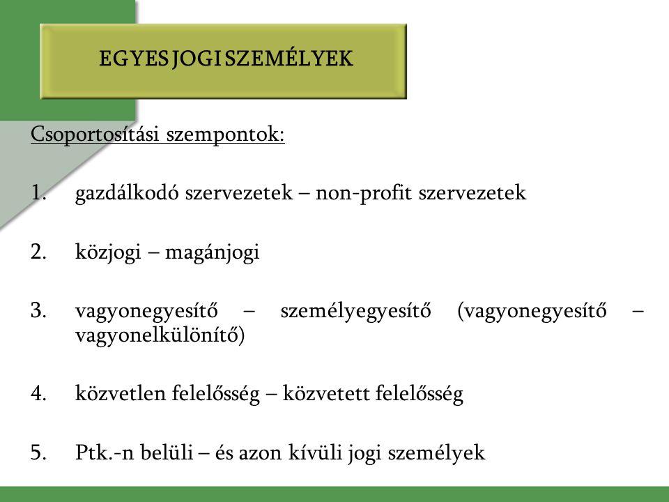 EGYES JOGI SZEMÉLYEK Csoportosítási szempontok: 1.gazdálkodó szervezetek – non-profit szervezetek 2.közjogi – magánjogi 3.vagyonegyesítő – személyegyesítő (vagyonegyesítő – vagyonelkülönítő) 4.közvetlen felelősség – közvetett felelősség 5.Ptk.-n belüli – és azon kívüli jogi személyek
