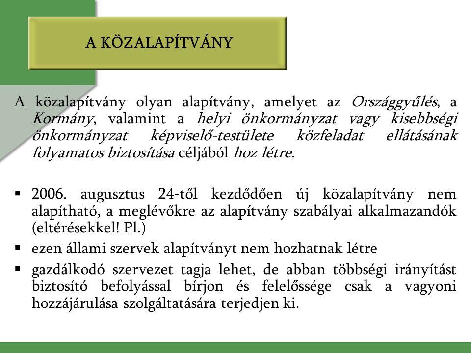A KÖZALAPÍTVÁNY A közalapítvány olyan alapítvány, amelyet az Országgyűlés, a Kormány, valamint a helyi önkormányzat vagy kisebbségi önkormányzat képviselő-testülete közfeladat ellátásának folyamatos biztosítása céljából hoz létre.