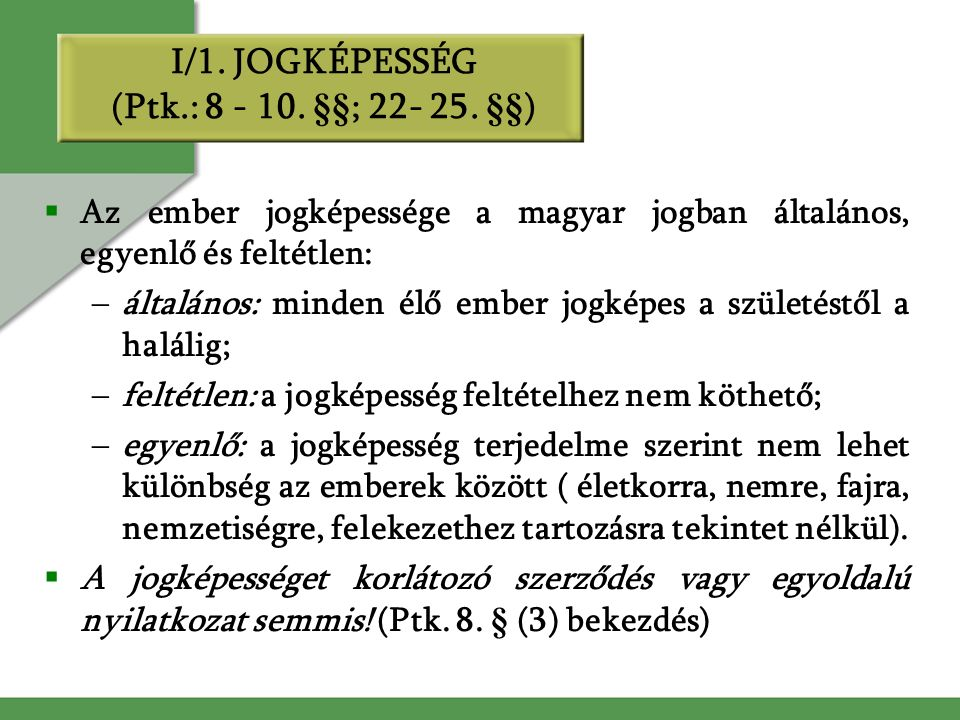 I/1. JOGKÉPESSÉG (Ptk.: 8 - 10. §§; 22- 25.