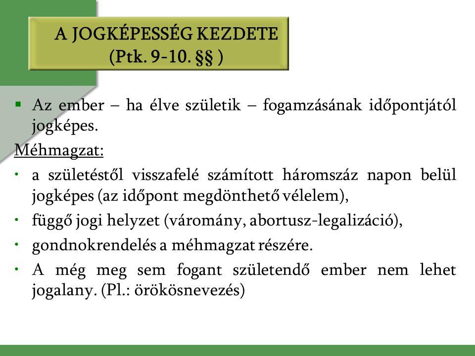 A JOGKÉPESSÉG KEZDETE (Ptk. 9-10.