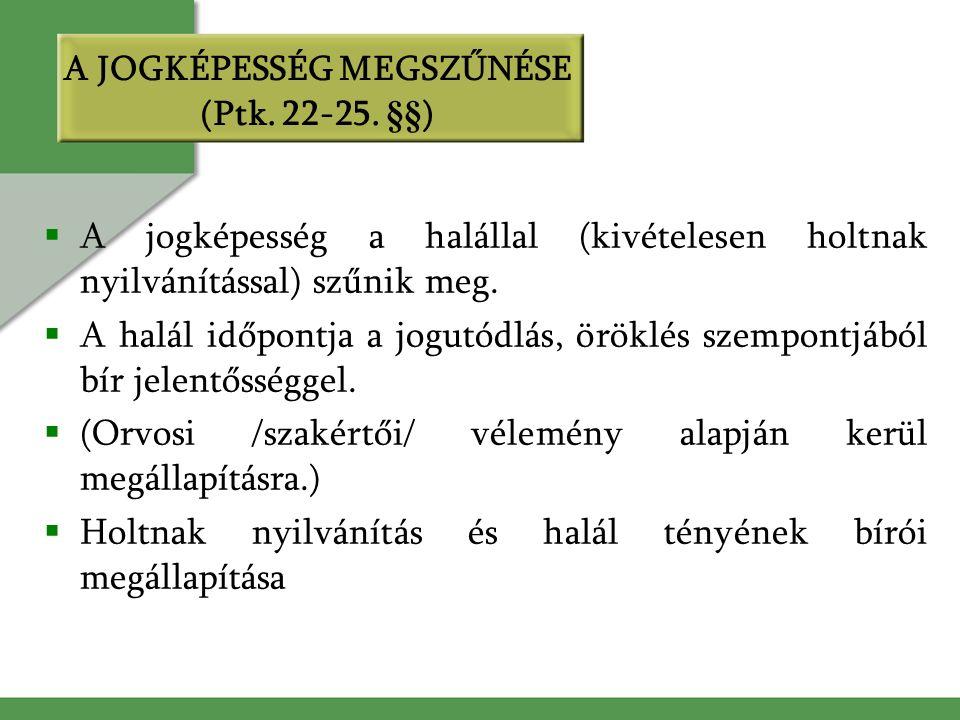 A JOGKÉPESSÉG MEGSZŰNÉSE (Ptk. 22-25.