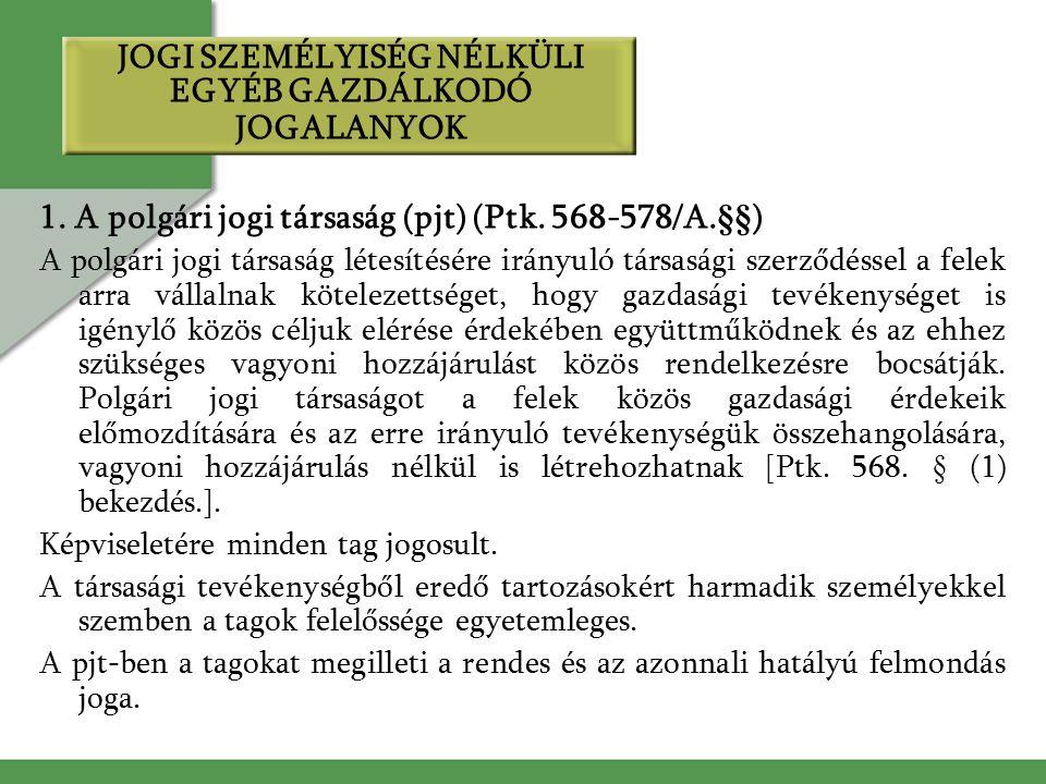 JOGI SZEMÉLYISÉG NÉLKÜLI EGYÉB GAZDÁLKODÓ JOGALANYOK 1.