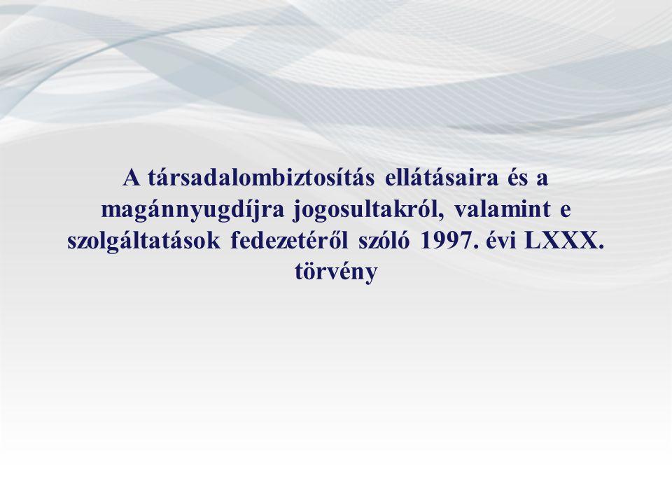 A társadalombiztosítás ellátásaira és a magánnyugdíjra jogosultakról, valamint e szolgáltatások fedezetéről szóló 1997. évi LXXX. törvény