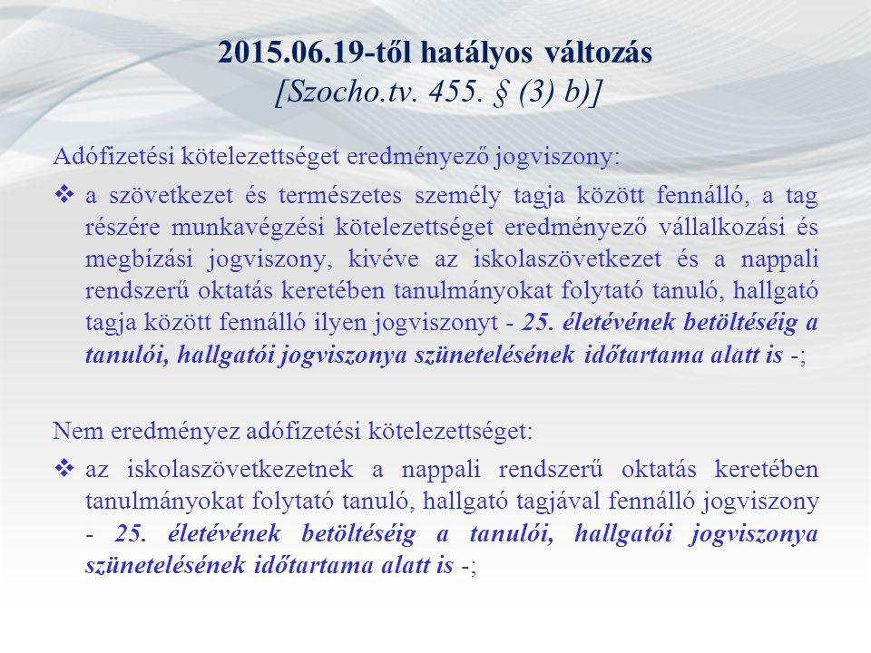 2015.06.19-től hatályos változás [Szocho.tv. 455. § (3) b)] Adófizetési kötelezettséget eredményező jogviszony:  a szövetkezet és természetes személy