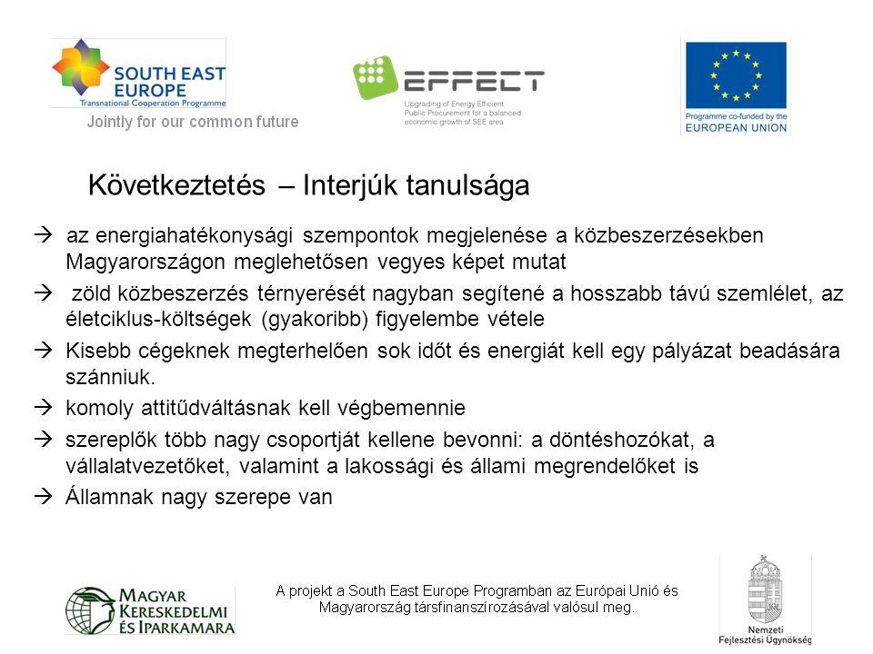  az energiahatékonysági szempontok megjelenése a közbeszerzésekben Magyarországon meglehetősen vegyes képet mutat  zöld közbeszerzés térnyerését nagyban segítené a hosszabb távú szemlélet, az életciklus-költségek (gyakoribb) figyelembe vétele  Kisebb cégeknek megterhelően sok időt és energiát kell egy pályázat beadására szánniuk.