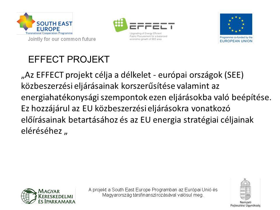 """""""Az EFFECT projekt célja a délkelet - európai országok (SEE) közbeszerzési eljárásainak korszerűsítése valamint az energiahatékonysági szempontok ezen eljárásokba való beépítése."""