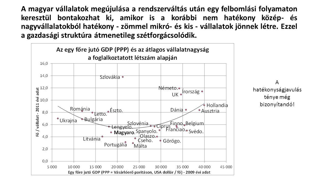 A magyar vállalatok megújulása a rendszerváltás után egy felbomlási folyamaton keresztül bontakozhat ki, amikor is a korábbi nem hatékony közép- és na