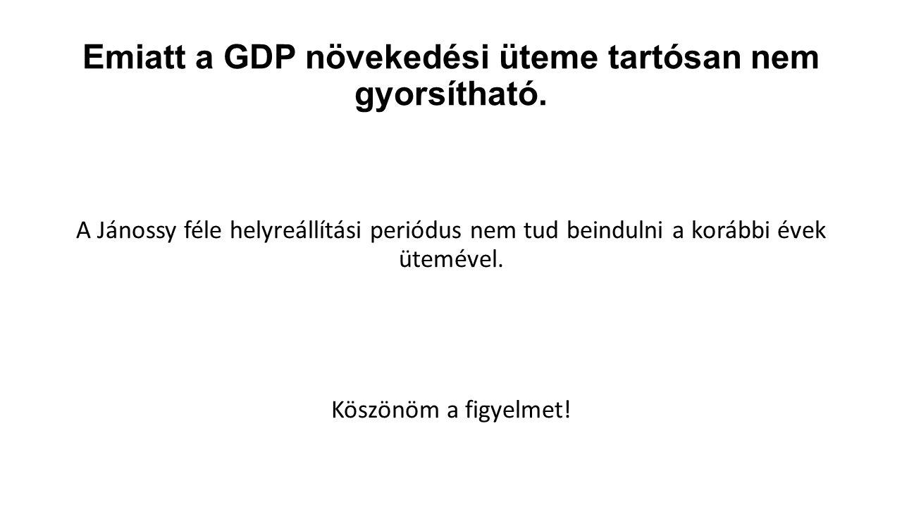 Emiatt a GDP növekedési üteme tartósan nem gyorsítható. A Jánossy féle helyreállítási periódus nem tud beindulni a korábbi évek ütemével. Köszönöm a f