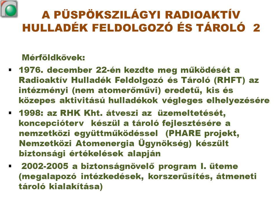 Mérföldkövek:  1976. december 22-én kezdte meg működését a Radioaktív Hulladék Feldolgozó és Tároló (RHFT) az intézményi (nem atomerőművi) eredetű, k