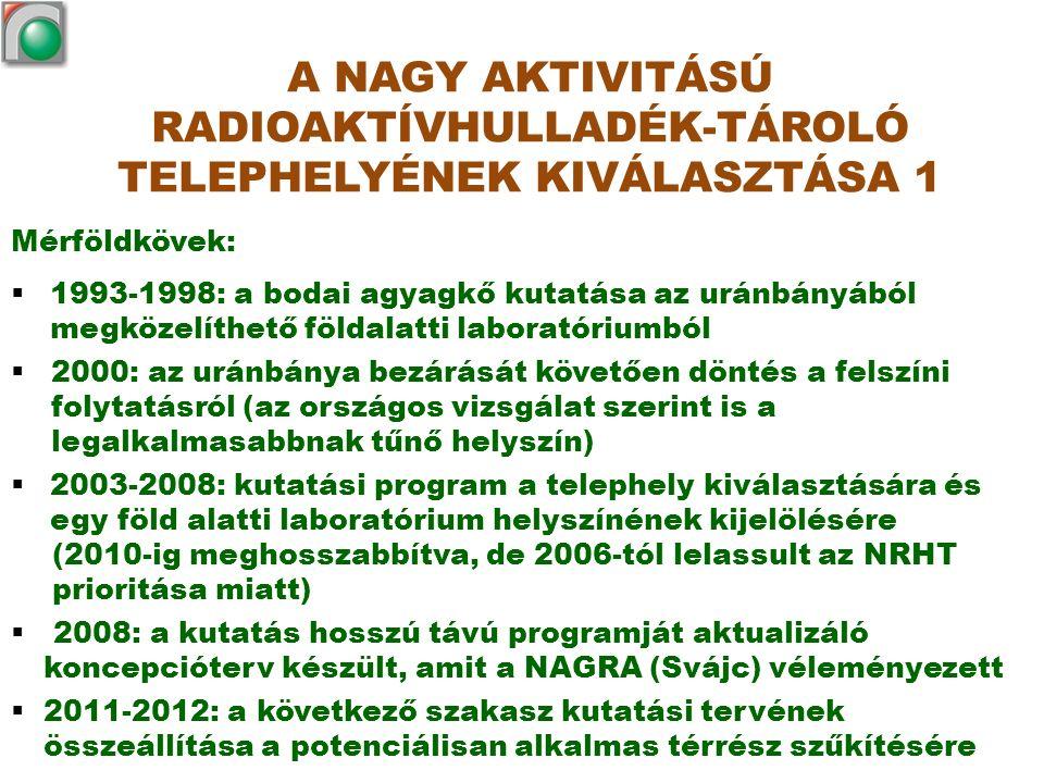 Mérföldkövek:  1993-1998: a bodai agyagkő kutatása az uránbányából megközelíthető földalatti laboratóriumból  2000: az uránbánya bezárását követően