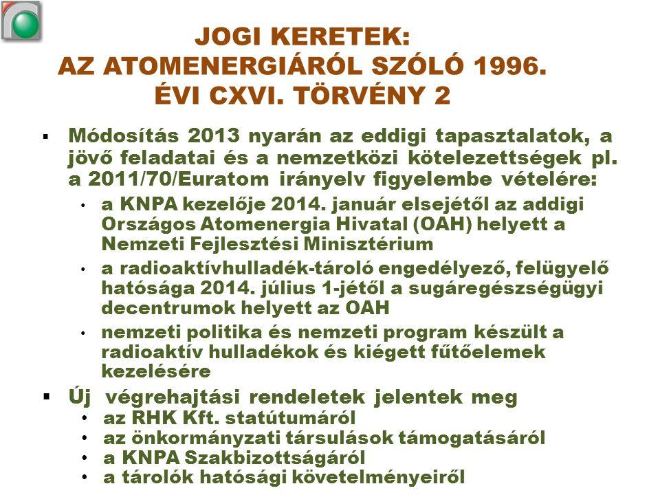 JOGI KERETEK: AZ ATOMENERGIÁRÓL SZÓLÓ 1996. ÉVI CXVI. TÖRVÉNY 2  Módosítás 2013 nyarán az eddigi tapasztalatok, a jövő feladatai és a nemzetközi köte