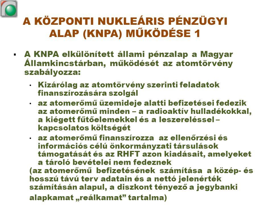 A KÖZPONTI NUKLEÁRIS PÉNZÜGYI ALAP (KNPA) MŰKÖDÉSE 2  A KNPA egyéb bevételi forrásai: A költségvetési intézmény által működtetett Budapesti Kutatóreaktor és a BME NTI Oktatóreaktor cikluszárási és leszerelési költségeit a felmerülésükkor fizeti be a KNPA-ba a központi költségvetés Az atomtörvény szerinti befizetési kötelezettségük van az RHFT-be radioaktív hulladékot beszállító intézményeknek (az atomerőmű kivételével) A KNPA értékállóságának biztosítására az előző évi pénzállomány és a jegybanki alapkamat előző évi átlagával számolt központi költségvetési támogatás szolgál  A Központi Nukleáris Pénzügyi Alap bevétele és év végi maradványa nem vonható el.