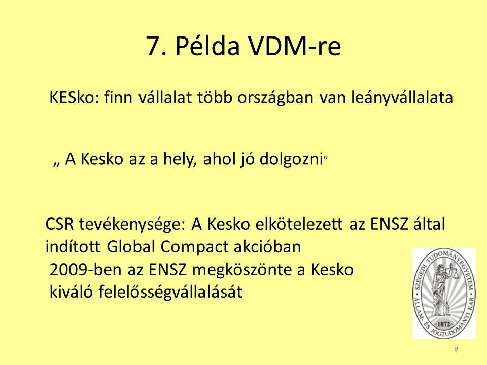 """7. Példa VDM-re 9 KESko: finn vállalat több országban van leányvállalata """" A Kesko az a hely, ahol jó dolgozni """" CSR tevékenysége: A Kesko elkötelezet"""