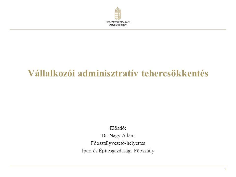 1 Vállalkozói adminisztratív tehercsökkentés Előadó: Dr.
