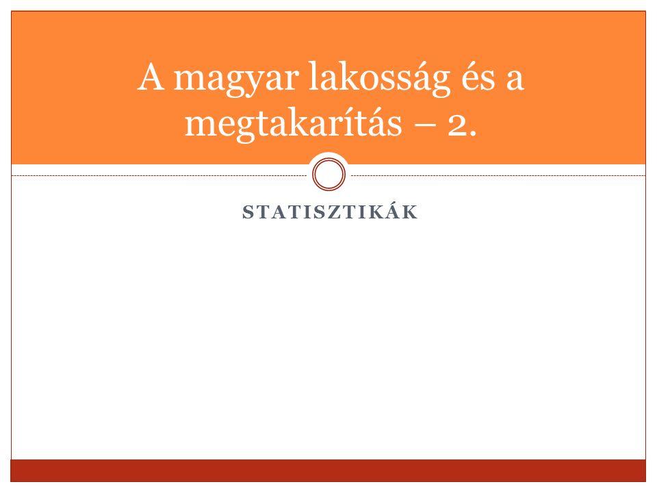 STATISZTIKÁK A magyar lakosság és a megtakarítás – 2.