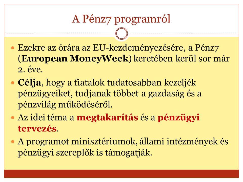 A Pénz7 programról Ezekre az órára az EU-kezdeményezésére, a Pénz7 (European MoneyWeek) keretében kerül sor már 2.