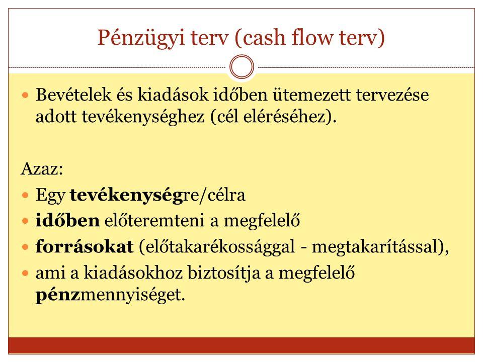 Pénzügyi terv (cash flow terv) Bevételek és kiadások időben ütemezett tervezése adott tevékenységhez (cél eléréséhez).