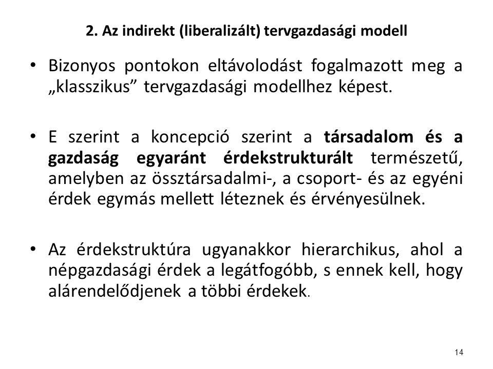 """2. Az indirekt (liberalizált) tervgazdasági modell Bizonyos pontokon eltávolodást fogalmazott meg a """"klasszikus"""" tervgazdasági modellhez képest. E sze"""