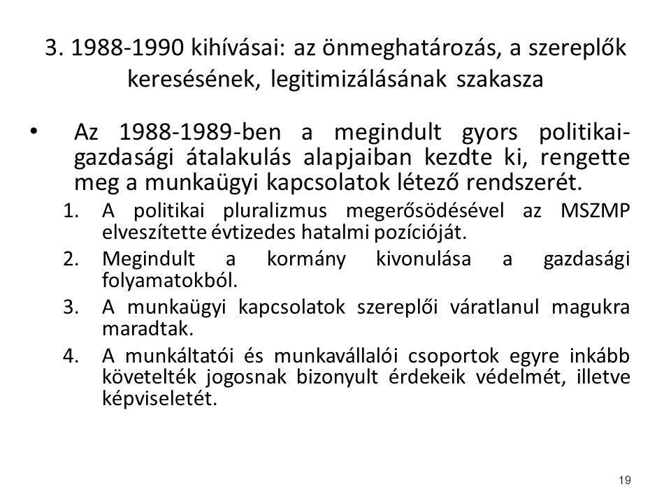 3. 1988-1990 kihívásai: az önmeghatározás, a szereplők keresésének, legitimizálásának szakasza Az 1988-1989-ben a megindult gyors politikai- gazdasági