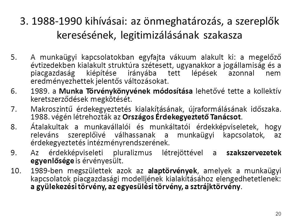 3. 1988-1990 kihívásai: az önmeghatározás, a szereplők keresésének, legitimizálásának szakasza 5.A munkaügyi kapcsolatokban egyfajta vákuum alakult ki