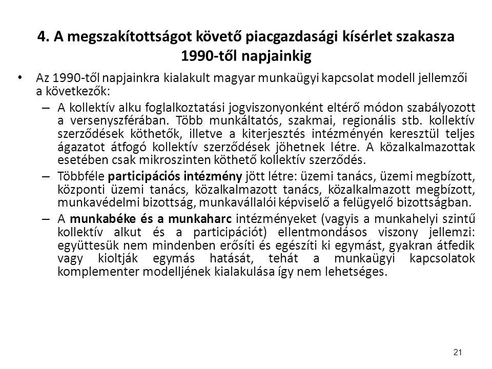 4. A megszakítottságot követő piacgazdasági kísérlet szakasza 1990-től napjainkig Az 1990-től napjainkra kialakult magyar munkaügyi kapcsolat modell j
