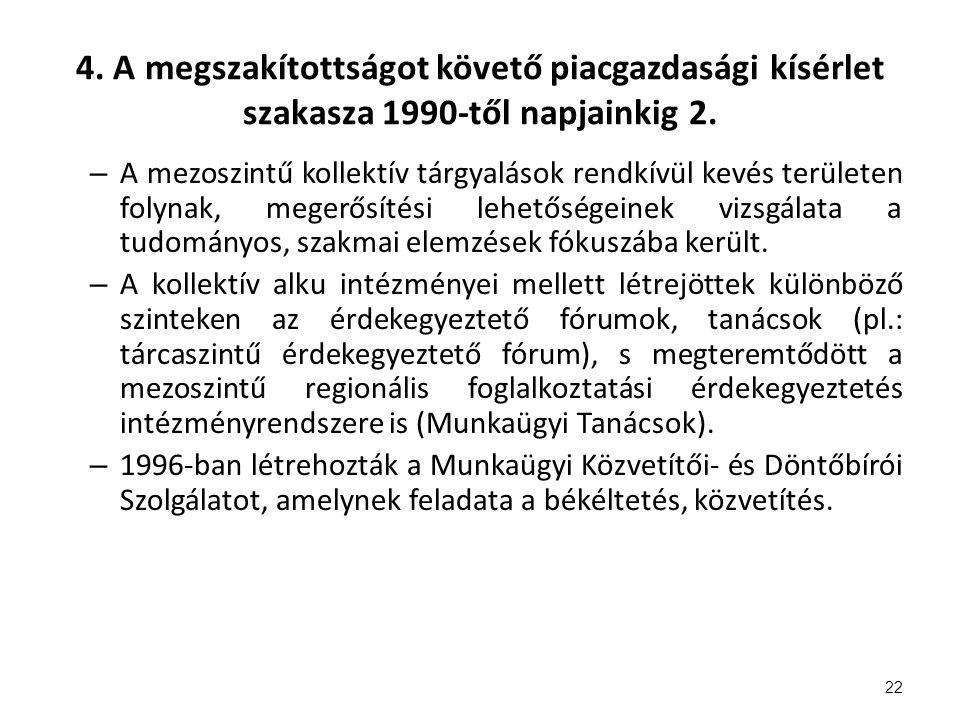 4. A megszakítottságot követő piacgazdasági kísérlet szakasza 1990-től napjainkig 2.