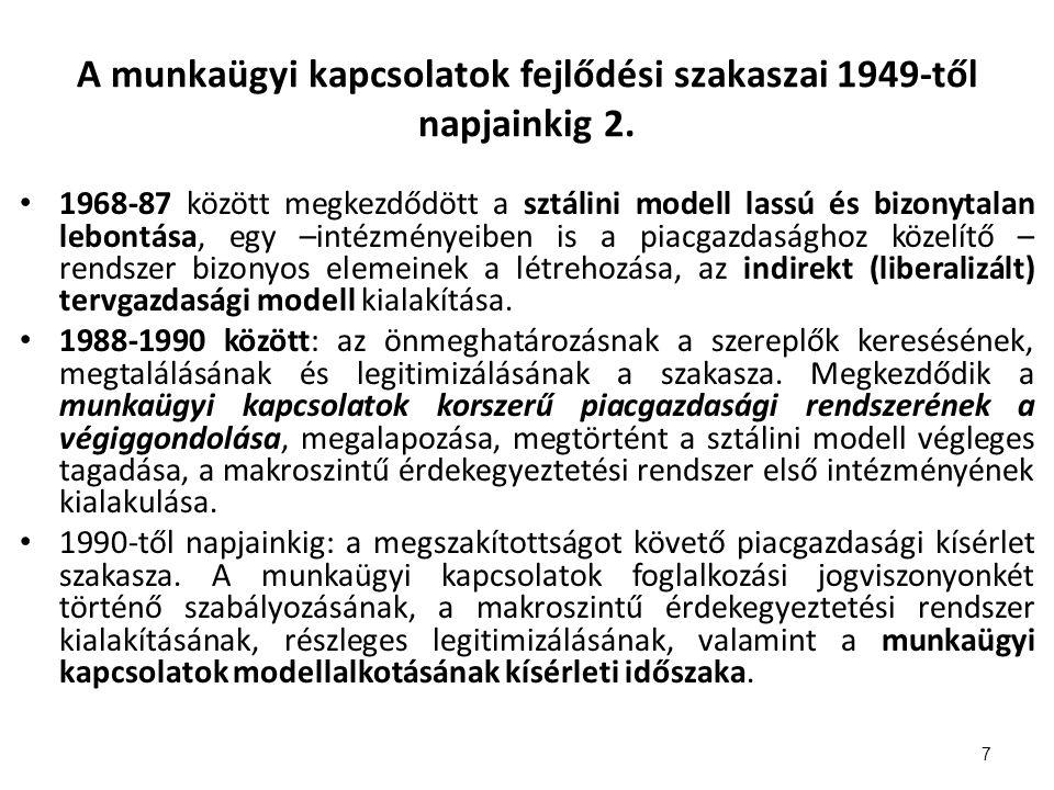 A munkaügyi kapcsolatok fejlődési szakaszai 1949-től napjainkig 2.