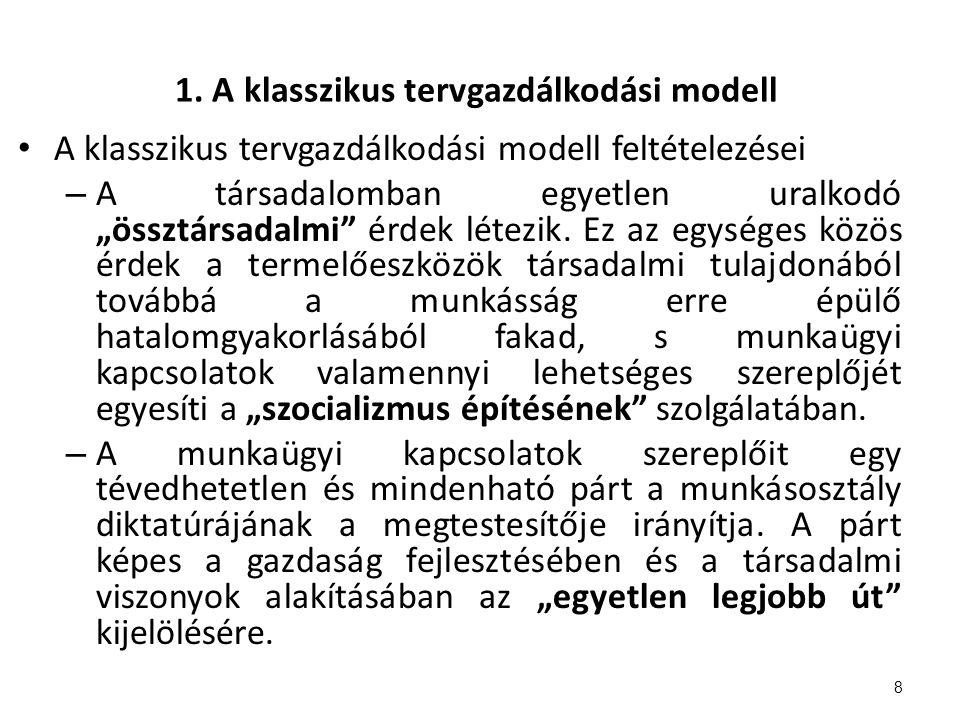 """1. A klasszikus tervgazdálkodási modell A klasszikus tervgazdálkodási modell feltételezései – A társadalomban egyetlen uralkodó """"össztársadalmi"""" érdek"""