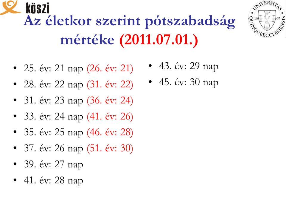 Az életkor szerint pótszabadság mértéke (2011.07.01.) 25. év: 21 nap (26. év: 21) 28. év: 22 nap (31. év: 22) 31. év: 23 nap (36. év: 24) 33. év: 24 n