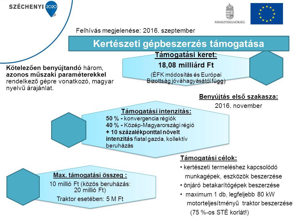 Támogatási keret: 18,08 milliárd Ft (ÉFK módosítás és Európai Bizottság jóváhagyásától függ) Benyújtás első szakasza: 2016. november Kötelezően benyúj