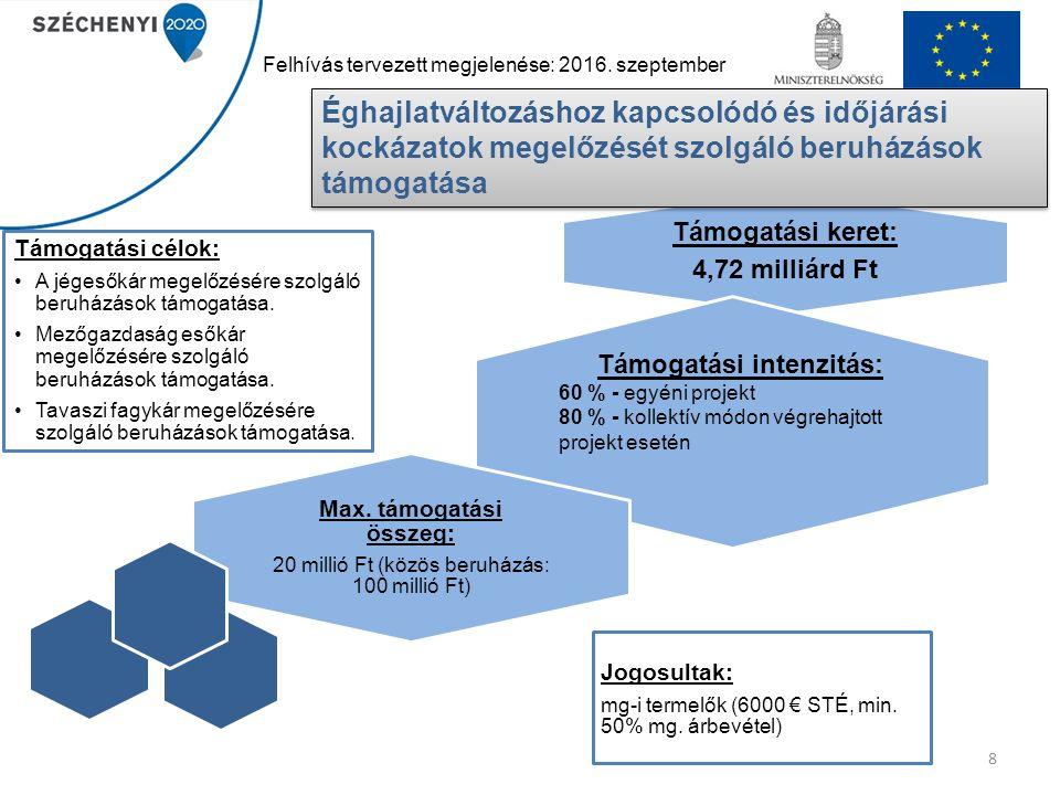 8 Támogatási keret: 4,72 milliárd Ft Jogosultak: mg-i termelők (6000 € STÉ, min. 50% mg. árbevétel) Max. támogatási összeg: 20 millió Ft (közös beruhá
