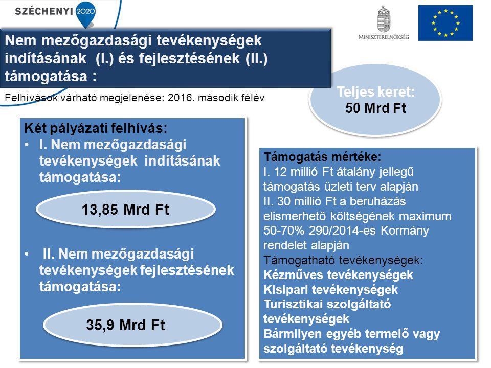 Fiatal mezőgazdasági termelők induló támogatása Keretösszeg: 37,75 Mrd Ft Üzleti terv benyújtása kötelező Kötelezettségvállalás időtartama: 5 év Vissza nem térítendő átalány támogatás, üzleti tervben vállalt kötelezettségek teljesítésére Célja: Generációváltás elősegítése Fejlesztési forrás biztosítása Önálló, életképes családi gazdaság kialakítása Támogatás mértéke: 40 ezer eurónak megfelelő forintösszeg, két részletben (75%+25% Jogosult: 1.